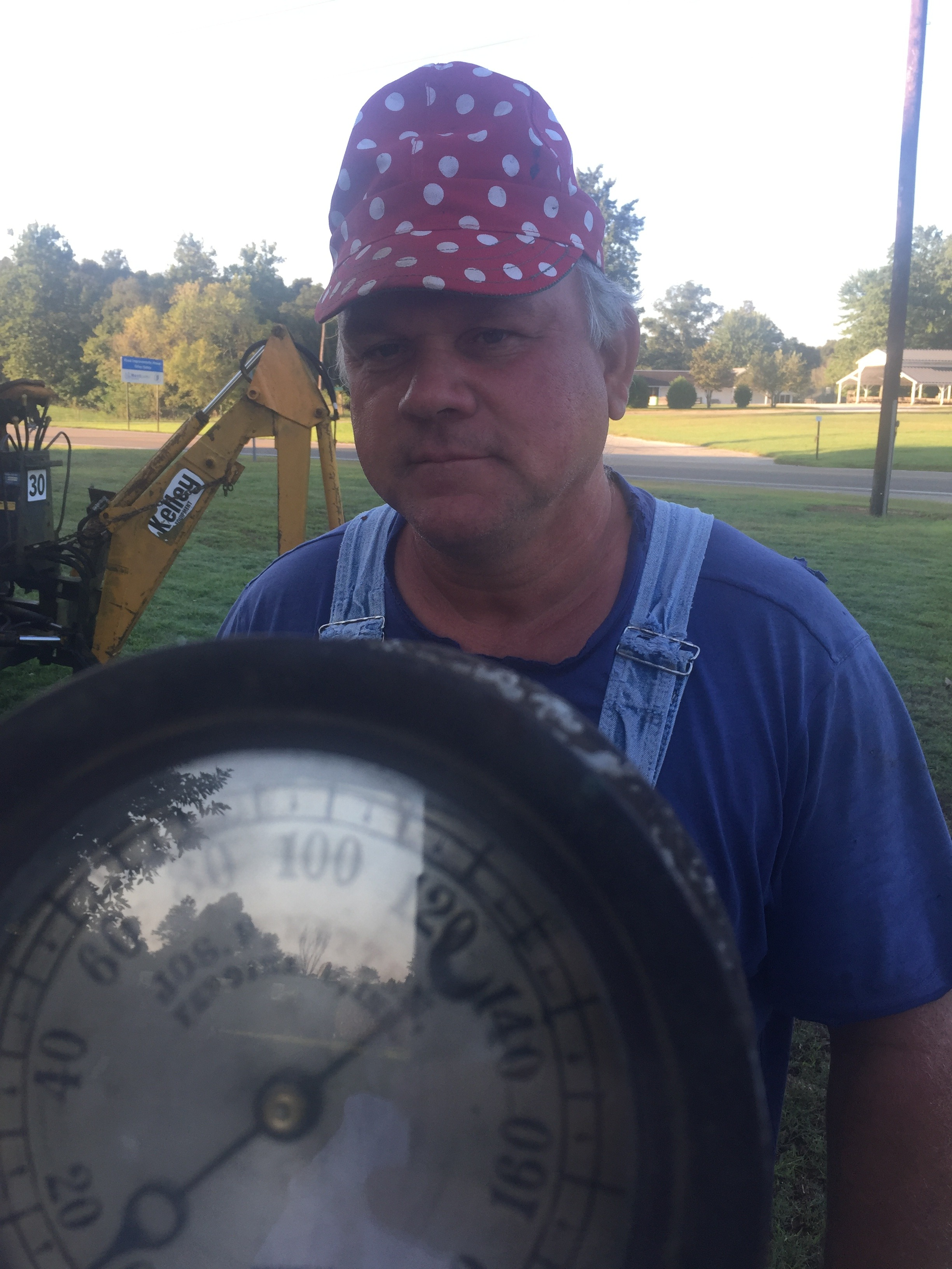 Joe Driman shows his rare Steam Gauge which has the name JOSEPH F. KITTEN.